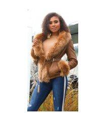 sexy lederlook jas gevoerd met nep bont bruin