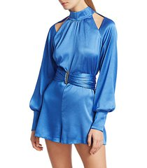 lorca puff-sleeve belted romper
