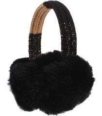 women's michael kors shaker stripe faux fur earmuffs - black