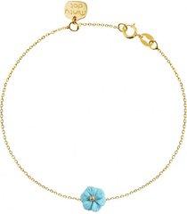 bransoletka złota kwiatek turkus