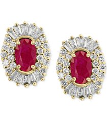amore by effy certified ruby (1-1/8 ct. t.w.) and diamond (5/8 ct. t.w.) earrings in 14k gold, created for macy's
