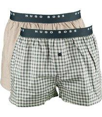 hugo boss boxer wijd 2-pak rood/blauw