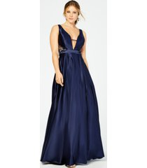 city studios juniors' rhinestone cutout gown