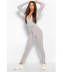 tall rib skinny leg jumpsuit, grey
