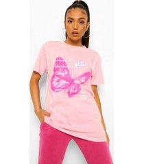petite oversized neon vlinder t-shirt, light pink