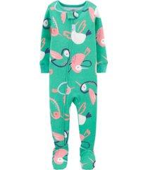 carter's baby girls hummingbird cotton footie pajamas