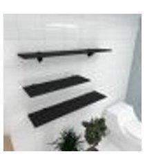kit 3 prateleiras banheiro em mdf suporte tucano preto 1 60x20cm 2 90x20cm modelo pratbnp16