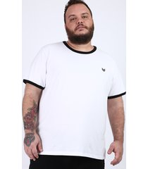 camiseta masculina plus size bicolor manga curta gola careca branca