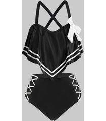 knotted stripes panel flounces criss cross plus size tankini swimwear