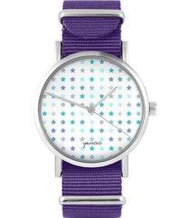 zegarek - blue stars - fiolet, nylonowy