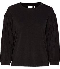 izoraiw wrinkle top blouse lange mouwen zwart inwear