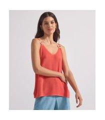 blusa regata alça fina com argola de palha em tricô | marfinno | laranja | g
