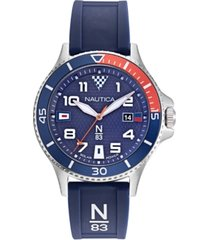 nautica n83 men's cocoa beach solar navy, red silicone strap watch 43mm