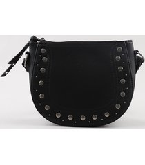 bolsa feminina transversal média com tachas preta