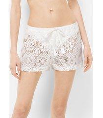 mk shorts in voile di cotone lavorato a crochet con coulisse - bianco (bianco) - michael kors