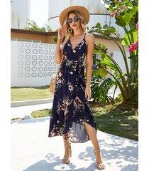 azul marino sin respaldo diseño estampado floral profundo v cuello vestido