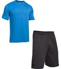 combo camiseta y pantaloneta under armour para hombre - azul/gris