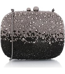 clutch em mini cristais degradê preto