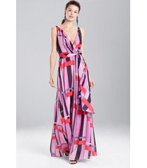 taisho stripes voile maxi dress, women's, purple, size 2, josie natori