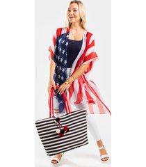 women's american flag sheer kimono in multi by francesca's - size: one size
