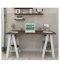 mesa escrivaninha self mdp imbuia branco lilies móveis