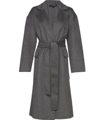 agatima wool belted coat wollen jas lange jas grijs french connection