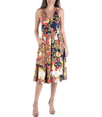 24seven comfort apparel floral paisley fit and flare dress with pockets
