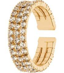 anello a fascia regolabile dorato e strass multifilo per donna