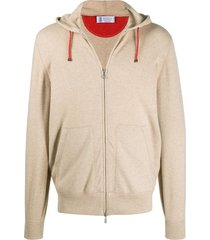 brunello cucinelli cashmere zip-up hoodie - brown