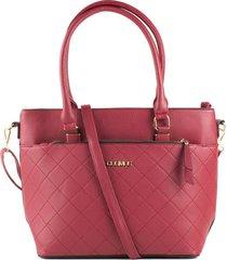 bolso femenino tipo cartera rojo con rombos marca cosmos