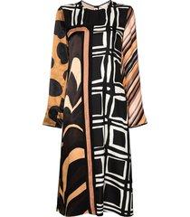 marni multi-pattern midi dress - brown