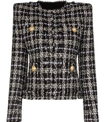 balmain tweed square-shoulder jacket - black