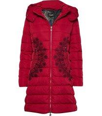 padded mandala gevoerde lange jas rood desigual