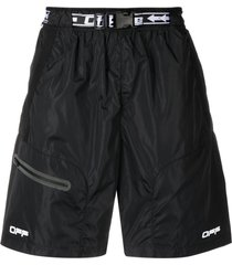 off-white logo-belt track shorts - black