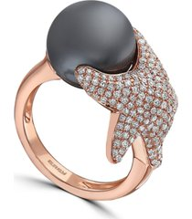 effy cultured tahitian pearl (11-1/2mm) & diamond (3/4 ct. t.w.) starfish ring in 14k rose gold