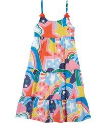 girl's mini boden print tassel tiered dress, size 5-6y - none