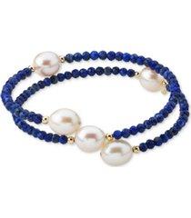 cultured freshwater pearl (10mm) & lapis lazuli (3mm) wrap bracelet in 14k gold (also black spinel)