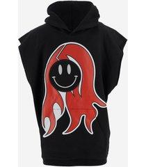 raf simons designer sweatshirts, black sleevless men's hoodie