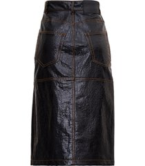 msgm midi skirt in leatherette with contrast stitching