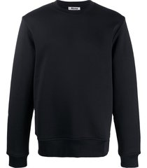 acne studios logo-zip crew-neck sweatshirt - black