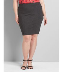 lane bryant women's zipper-hem ponte pencil skirt 20 dark gray
