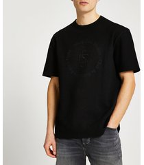 river island mens black 'casa studios' ribbed t-shirt
