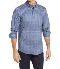 men's bugatchi ooohcotton tech check knit button-down shirt, size large r - blue