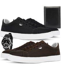kit 2 pares de sapatãªnis skateboard sapatofran casual preto e cafã© com relã³gio e carteira - preto - masculino - lona - dafiti