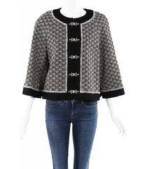 chanel embroidered wool jacket black/white/floral print sz: s