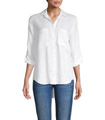pure navy women's long-sleeve linen shirt - white - size xs