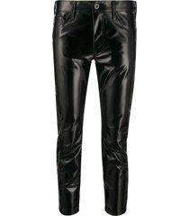 junya watanabe vinyl-effect cropped trousers - black
