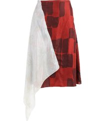 red and ivory upcycled asymmetric skirt