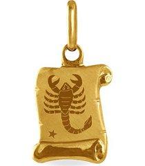 ciondolo in oro giallo pergamena segno zodiacale scorpione per unisex