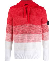 stone island shadow project waffle knit hoodie - red